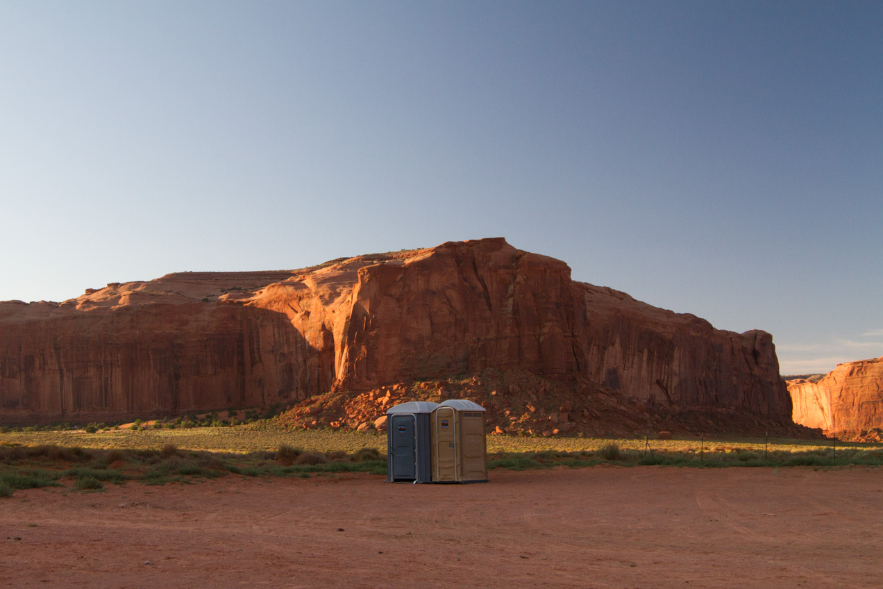 Two port-o-potties in Monument Valley