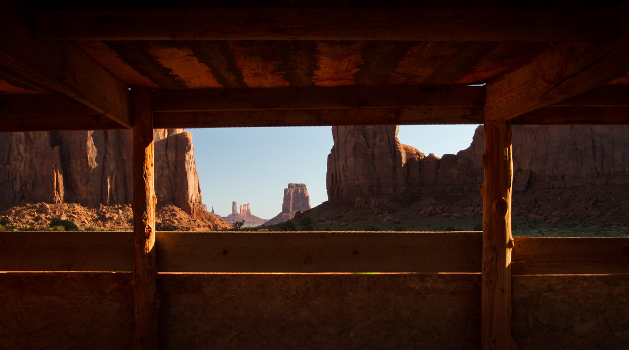 Monument Valley through a window frame